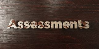 Assessments - grungy wooden headline on Maple  - 3D rendered royalty free stock image Royalty Free Stock Images