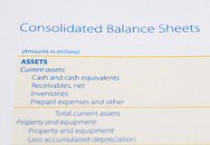 Asset on the balance sheet. Close up of asset on the balance sheet royalty free stock photo
