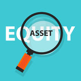 Asset or equity cash flow concept business analysis magnifying glass symbol Stock Photos
