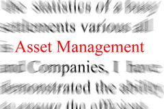Asset Management. Abstract blurry image of the word asset management Royalty Free Stock Images
