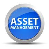 Asset Management blå rund knapp stock illustrationer