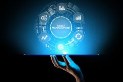 Asset management concept on virtual screen. Business Technology concept. royalty free stock photo