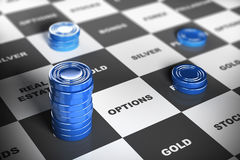 Asset Management or Financial Investments. Blue checkers pieces over a financial board where it is written some investment words. Financial concept Stock Photography