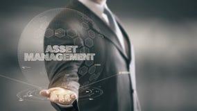 Asset Management with hologram businessman concept. Business, Technology Internet and network concept stock illustration