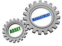 Asset management in silver grey gears Stock Images
