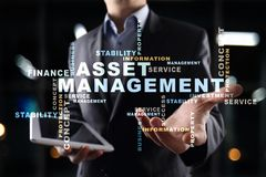 Asset management on the virtual screen. Business concept. Words cloud. Asset management on the virtual screen. Business concept. Words cloud stock images