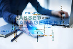 Asset management on the virtual screen. Business concept. Words cloud. Royalty Free Stock Image
