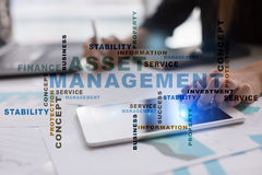 Asset management on the virtual screen. Business concept. Words cloud. Royalty Free Stock Photos