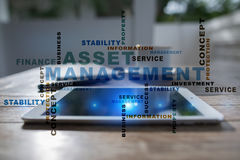 Asset management on the virtual screen. Business concept. Words cloud. royalty free stock photography