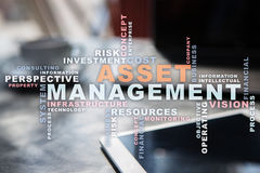 Asset management on the virtual screen. Business concept. Words cloud. Royalty Free Stock Photo