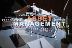 Asset management on the virtual screen. Business concept. Words cloud. Asset management on the virtual screen. Business concept. Words cloud royalty free stock photos