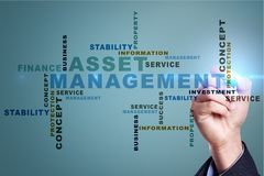 Asset management on the virtual screen. Business concept. Words cloud. Asset management on the virtual screen. Business concept. Words cloud stock photography