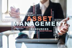 Asset management on the virtual screen. Business concept. Words cloud. Asset management on the virtual screen. Business concept. Words cloud stock photo