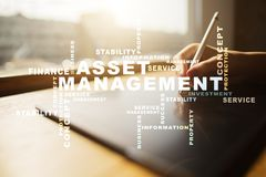 Asset management on the virtual screen. Business concept. Words cloud. Asset management on the virtual screen. Business concept. Words cloud royalty free stock photo