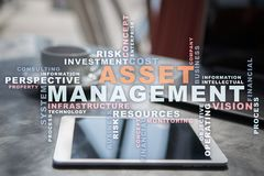 Asset management on the virtual screen. Business concept. Words cloud. Asset management on the virtual screen. Business concept. Words cloud stock image