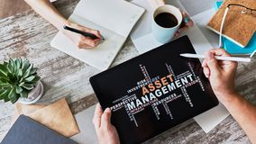 Asset management words cloud on screen. FInancial and Business concept. Asset management words cloud on screen. FInancial and Business concept royalty free stock image