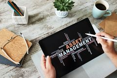 Asset management words cloud on screen. FInancial and Business concept. royalty free stock photo