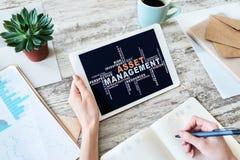 Asset management words cloud on screen. FInancial and Business concept. Asset management words cloud on screen. FInancial and Business concept stock photos