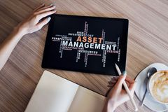 Asset management words cloud on screen. FInancial and Business concept. Asset management words cloud on screen. FInancial and Business concept royalty free stock images