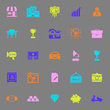 Asset and property icons on gray background Royalty Free Stock Image