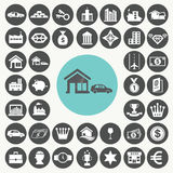 Asset and property icons set. Stock Photos