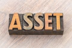 Asset word abstract in wood type. Asset word abstract in vintage letterpress wood type printing blocks Stock Image