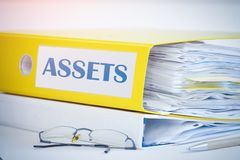 Assets accounting folder. Accounting concept royalty free stock images
