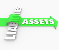 Assets Arrow Over Liabilities Increasing Wealth Accounting Value. Assets word on arrow jumping over Liabilities word to illustrate rising and growing wealth in stock illustration