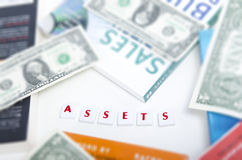 Assets Letter Pieces on Focus Royalty Free Stock Photos