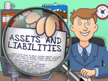 Assets and Liabilities through Magnifier. Doodle Design. Assets and Liabilities on Paper in Businessman's Hand through Magnifying Glass to Illustrate a Business Royalty Free Stock Images