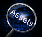 Assets Magnifier Indicates Valuables Searching And Search. Magnifier Assets Showing Searches Property And Goods royalty free illustration