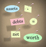 Assets Minus Debts Equals Net Worth Accounting Equation Words. Assets minus debts equals net worth words on pieces of paper pinned to a bulletin board to stock illustration