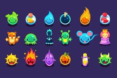 Flat vector assets for mobile game with funny creatures and objects. Aliens, fish, mouse, fox, toad, princess, bomb. Assets for mobile game with funny creatures Royalty Free Stock Image