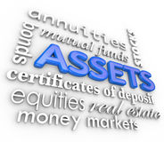 Assets Word Collage Stocks Bonds Investments Money Wealth Value. Assets word collage including 3d terms such as annuities, bonds, stocks, certificate of deposit stock illustration