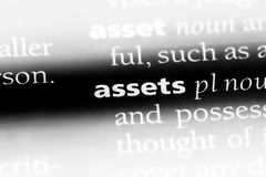 Assets. Word in a dictionary.  concept stock image