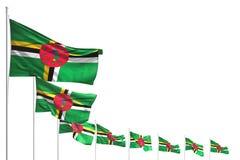 Assez beaucoup de drapeaux de la Dominique ont plac? la diagonale d'isolement sur le blanc avec l'endroit pour le texte - n'impor illustration de vecteur