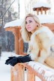 Assez blond dans le manteau de fourrure, les gants en cuir regarde loin Images stock