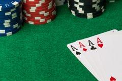 Assi della mano di mazza di poker immagine stock