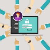 Assicurando l'accesso da autorizzi la sicurezza del sistema della forma di connessione di parola d'ordine dell'autenticazione del illustrazione di stock