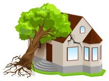 Assicurazione di beni contro i disastri naturali L'albero di terremoto è caduto sulla casa Fotografia Stock