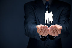 Assicurazione ed anziani di pensione Fotografia Stock Libera da Diritti