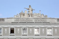 Assicurazioni Generali Trieste. TRIESTE, ITALY - OCTOBER 13, 2014: Assicurazioni Generali Insurance Company Building in Trieste, Italy Royalty Free Stock Photo