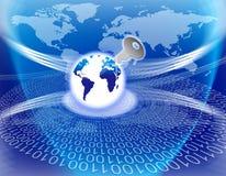 Assicuri il tasto globale di tecnologia dell'informazione Fotografia Stock Libera da Diritti