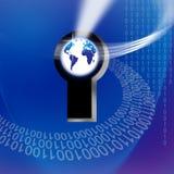 Assicuri il tasto globale di tecnologia dell'informazione Fotografia Stock