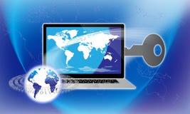 Assicuri il tasto globale di tecnologia dell'informazione Immagine Stock