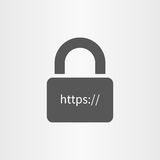 Assicuri l'icona del collegamento e la linea online icona del testo del HTTP isolata Fotografie Stock Libere da Diritti