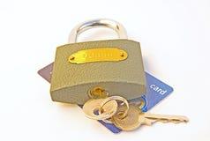 Assicuri la transazione: carta di credito. Fotografia Stock