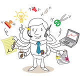 Assiduous businessman multitasking. Vector illustration of a monochrome cartoon character: Assiduous businessman multitasking Stock Photography