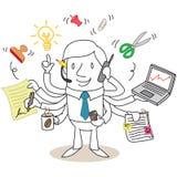 Assiduous businessman multitasking stock illustration