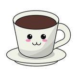 assiette creuse de café de kawaii illustration de vecteur